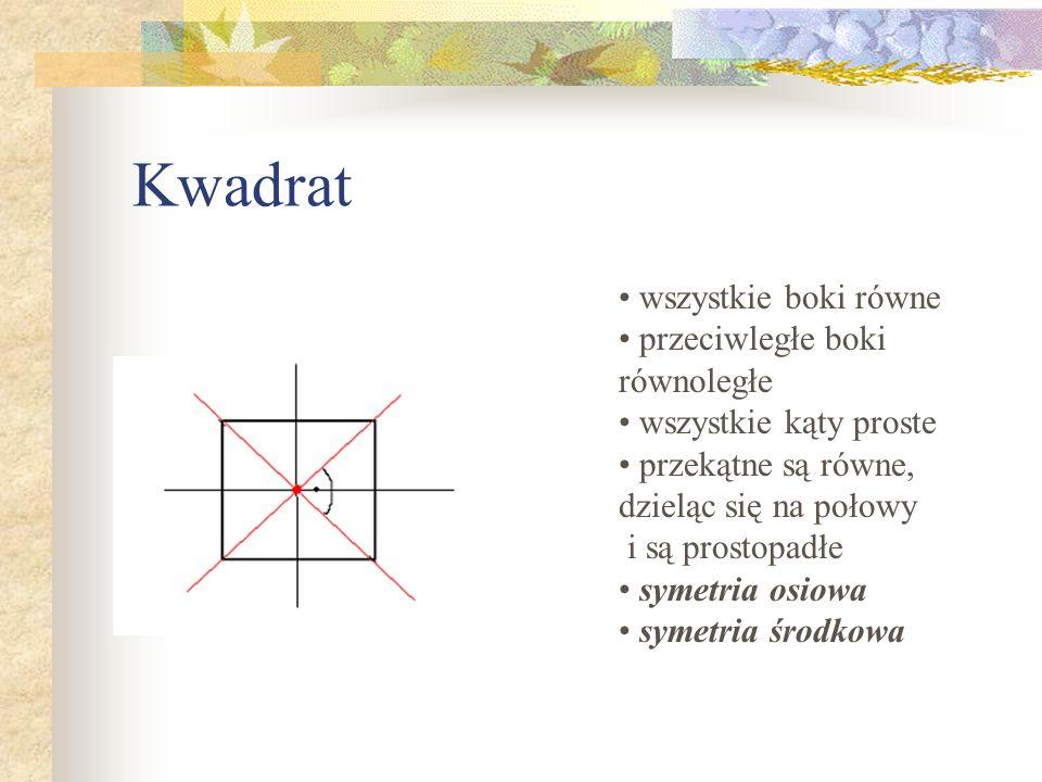 Kwadrat wszystkie boki równe przeciwległe boki równoległe wszystkie kąty proste przekątne są równe, dzieląc się na połowy i są prostopadłe symetria os