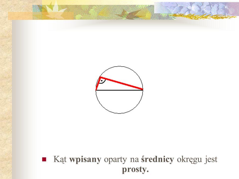 Kąt wpisany oparty na średnicy okręgu jest prosty.