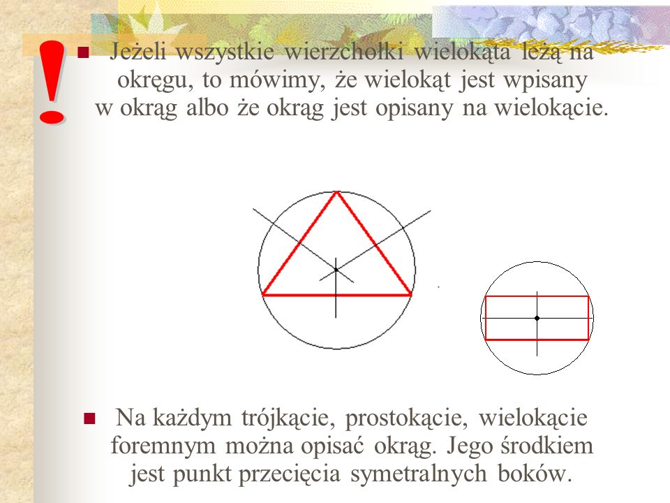 Jeżeli wszystkie wierzchołki wielokąta leżą na okręgu, to mówimy, że wielokąt jest wpisany w okrąg albo że okrąg jest opisany na wielokącie. Na każdym
