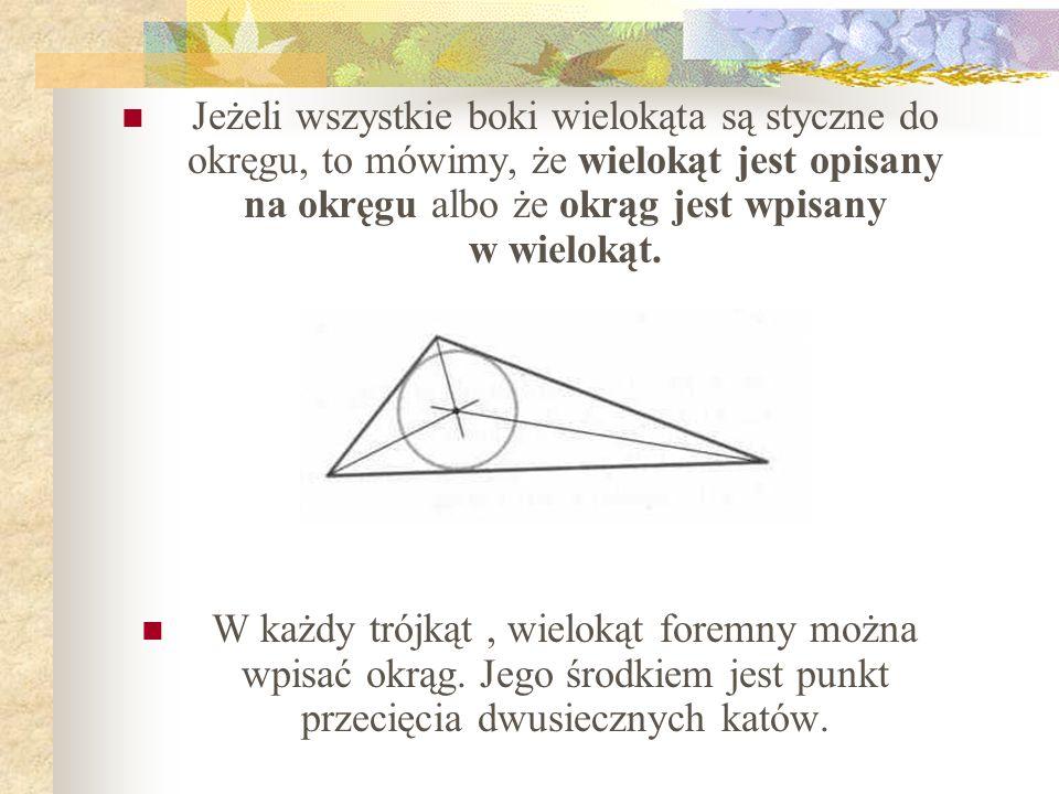 Jeżeli wszystkie boki wielokąta są styczne do okręgu, to mówimy, że wielokąt jest opisany na okręgu albo że okrąg jest wpisany w wielokąt. W każdy tró