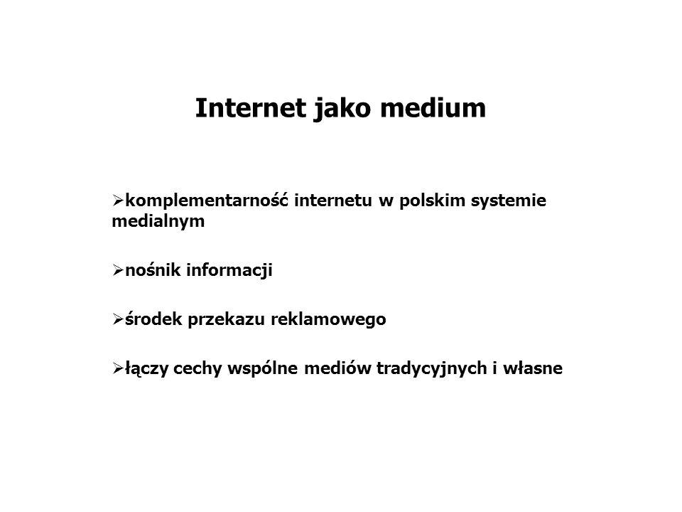 Internet jako medium komplementarność internetu w polskim systemie medialnym nośnik informacji środek przekazu reklamowego łączy cechy wspólne mediów tradycyjnych i własne
