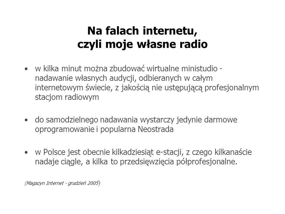 Na falach internetu, czyli moje własne radio w kilka minut można zbudować wirtualne ministudio - nadawanie własnych audycji, odbieranych w całym internetowym świecie, z jakością nie ustępującą profesjonalnym stacjom radiowym do samodzielnego nadawania wystarczy jedynie darmowe oprogramowanie i popularna Neostrada w Polsce jest obecnie kilkadziesiąt e-stacji, z czego kilkanaście nadaje ciągle, a kilka to przedsięwzięcia półprofesjonalne.