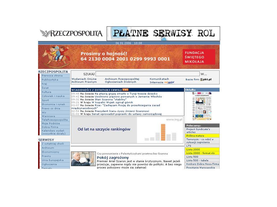 Strategie obecności w internecie Radio zamieszczanie bieżących informacji na własnych serwisach informacyjnych portal horyzontalny słuchanie programu z witryn w formacie RealAudio* * Na podstawie badania przeprowadzonego przez I-Metrię w okresie od maja do sierpnia 2001.