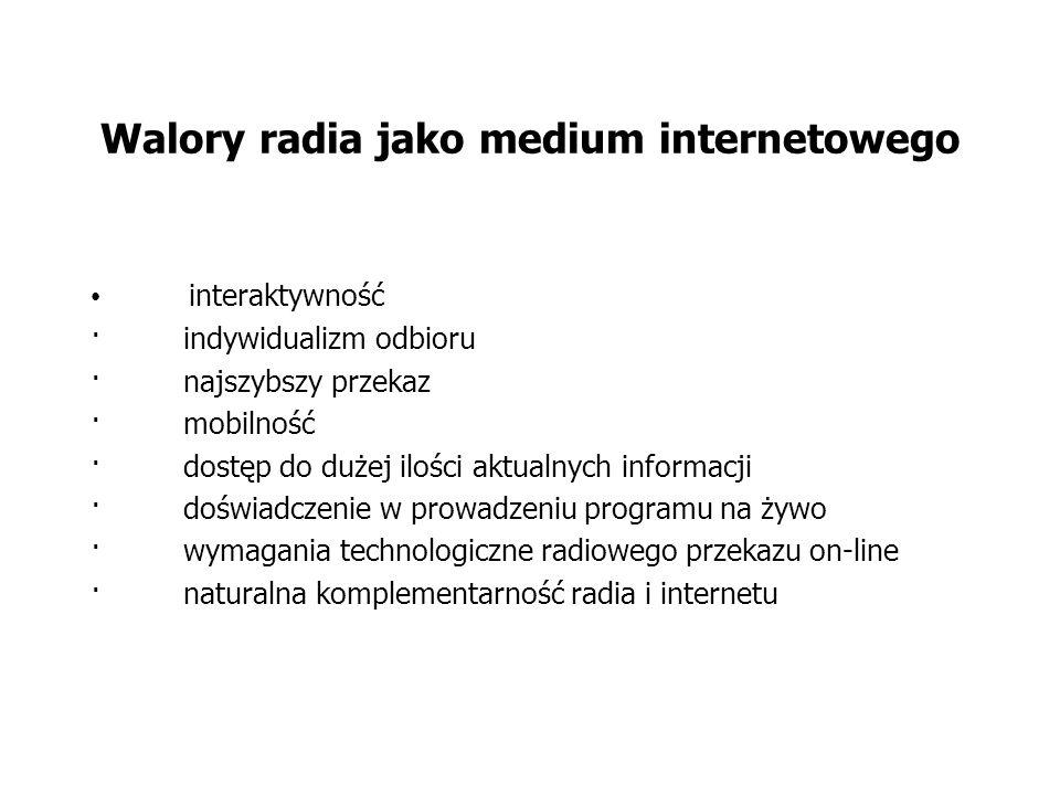 Walory radia jako medium internetowego interaktywność · indywidualizm odbioru · najszybszy przekaz · mobilność · dostęp do dużej ilości aktualnych informacji · doświadczenie w prowadzeniu programu na żywo · wymagania technologiczne radiowego przekazu on-line · naturalna komplementarność radia i internetu