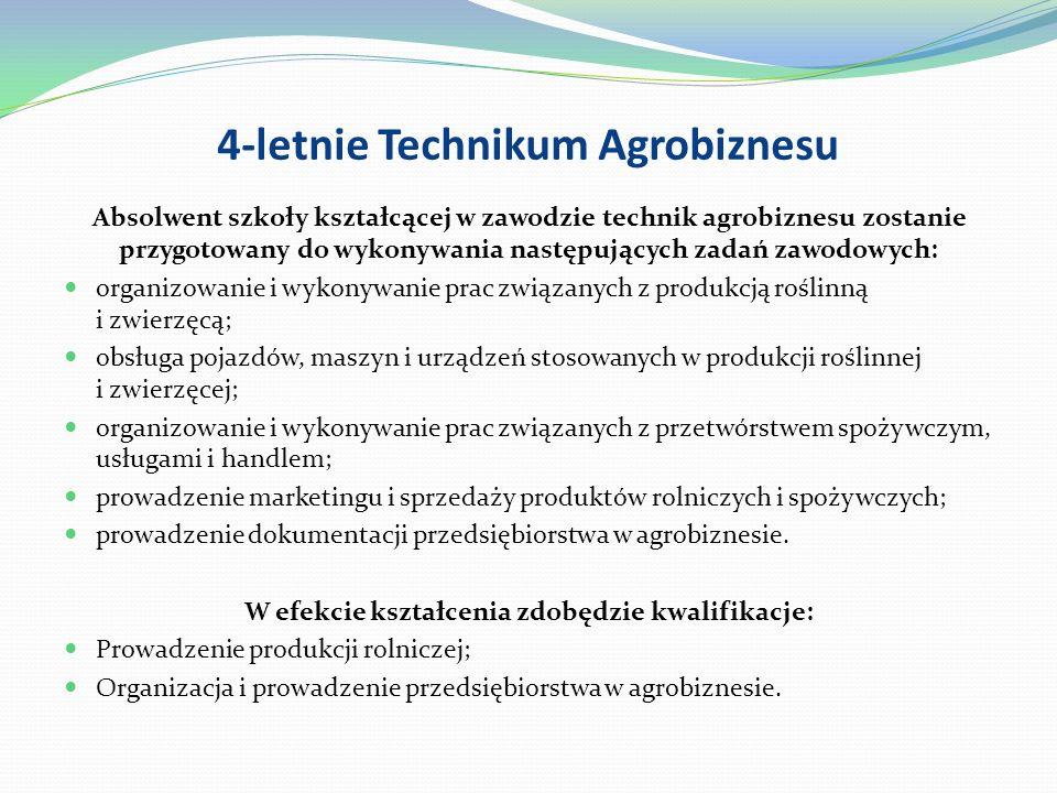 4-letnie Technikum Mechanizacji Rolnictwa Absolwent szkoły kształcącej w zawodzie technik mechanizacji rolnictwa zostanie przygotowany do wykonywania następujących zadań zawodowych: użytkowanie pojazdów, maszyn, urządzeń i narzędzi stosowanych w produkcji rolniczej; obsługiwanie pojazdów, środków transportu, maszyn i urządzeń stosowanych w rolnictwie; ocenianie stanu technicznego maszyn i urządzeń rolniczych; organizowanie prac związanych z konserwacją i naprawą środków technicznych stosowanych w rolnictwie; prowadzenie samochodów osobowych.