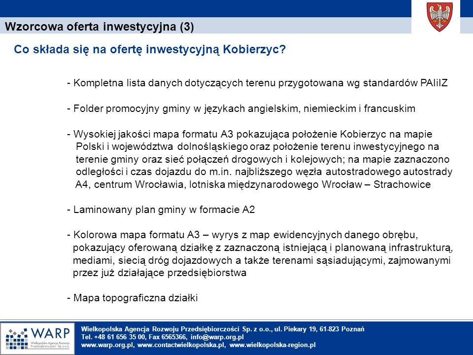 1. Einleitung Wzorcowa oferta inwestycyjna (3) Co składa się na ofertę inwestycyjną Kobierzyc? Wielkopolska Agencja Rozwoju Przedsiębiorczości Sp. z o
