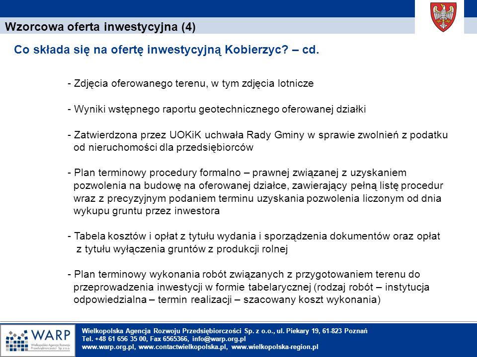 1. Einleitung Wzorcowa oferta inwestycyjna (4) Co składa się na ofertę inwestycyjną Kobierzyc? – cd. Wielkopolska Agencja Rozwoju Przedsiębiorczości S