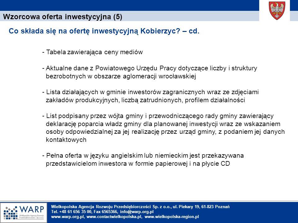 1. Einleitung Wzorcowa oferta inwestycyjna (5) Co składa się na ofertę inwestycyjną Kobierzyc? – cd. Wielkopolska Agencja Rozwoju Przedsiębiorczości S