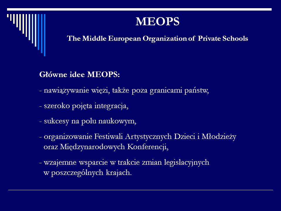 MEOPS The Middle European Organization of Private Schools Główne idee MEOPS: - nawiązywanie więzi, także poza granicami państw, - szeroko pojęta integ