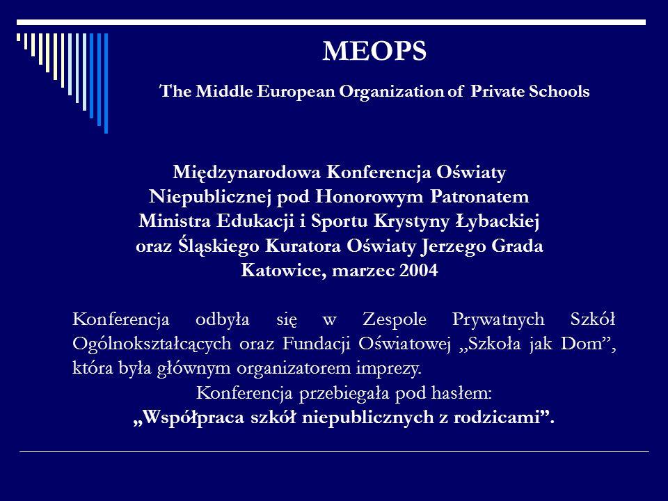 MEOPS The Middle European Organization of Private Schools Międzynarodowa Konferencja Oświaty Niepublicznej pod Honorowym Patronatem Ministra Edukacji
