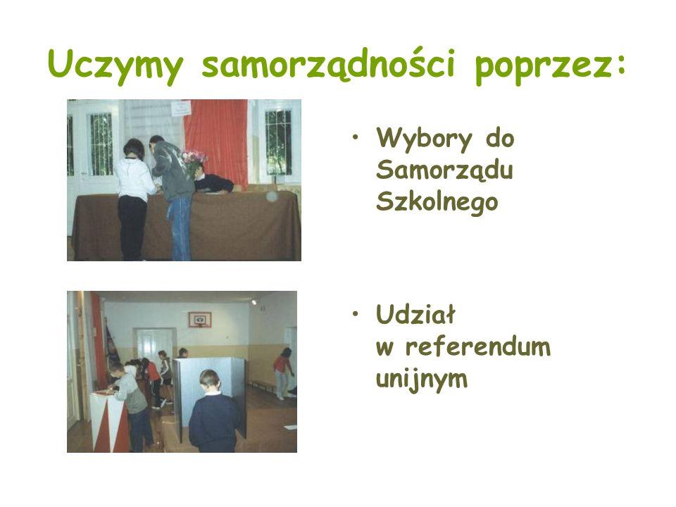Uczymy samorządności poprzez: Wybory do Samorządu Szkolnego Udział w referendum unijnym