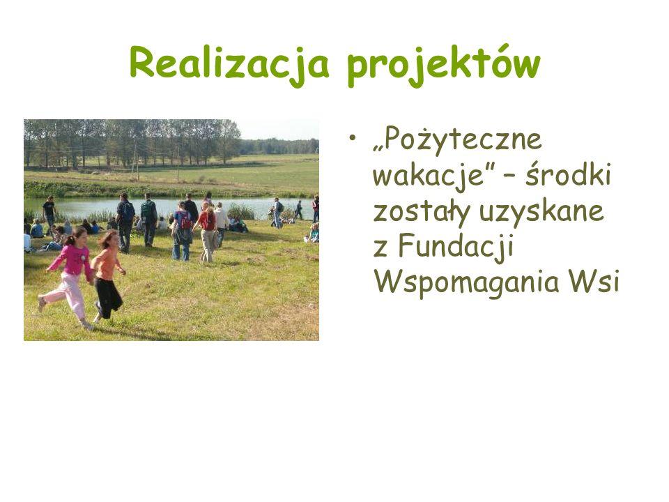 Realizacja projektów Pożyteczne wakacje – środki zostały uzyskane z Fundacji Wspomagania Wsi