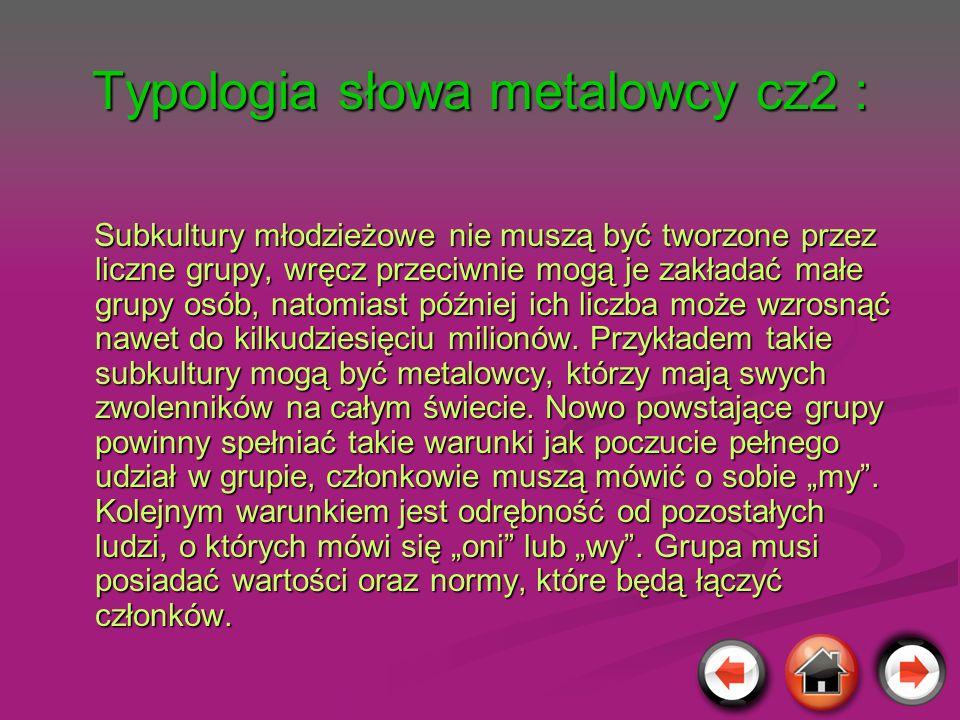 Typologia słowa metalowcy cz2 : Subkultury młodzieżowe nie muszą być tworzone przez liczne grupy, wręcz przeciwnie mogą je zakładać małe grupy osób, n