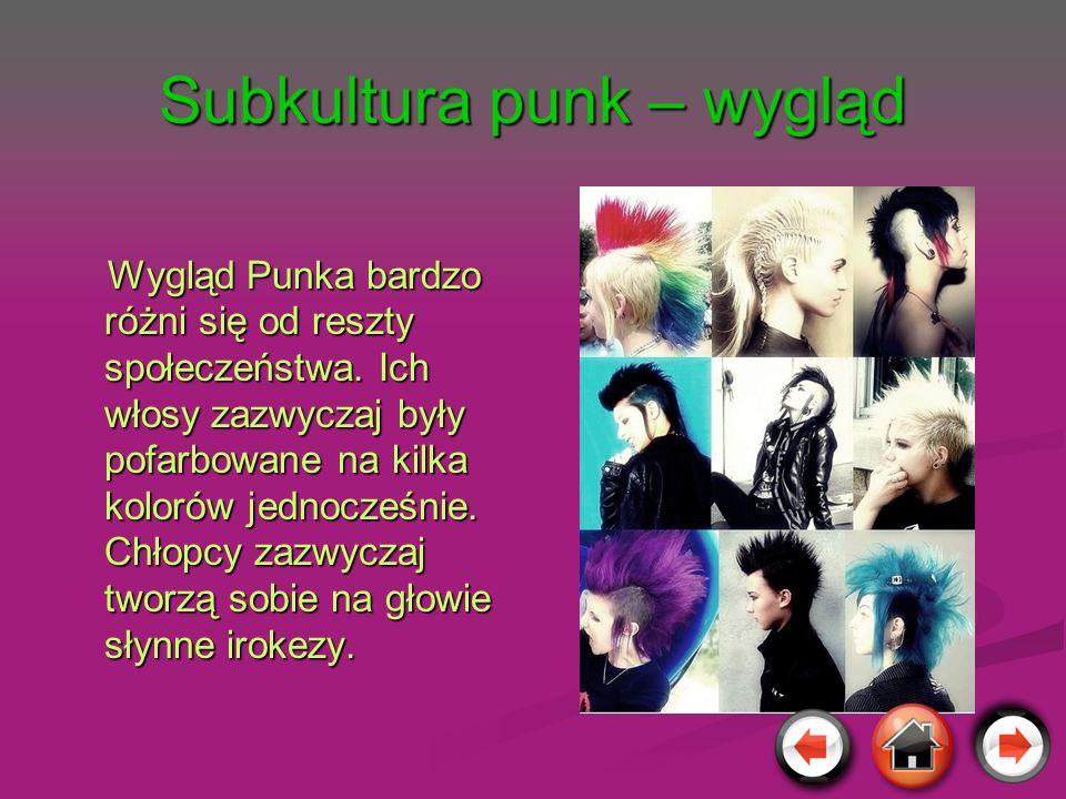 Subkultura punk – wygląd Wygląd Punka bardzo różni się od reszty społeczeństwa. Ich włosy zazwyczaj były pofarbowane na kilka kolorów jednocześnie. Ch
