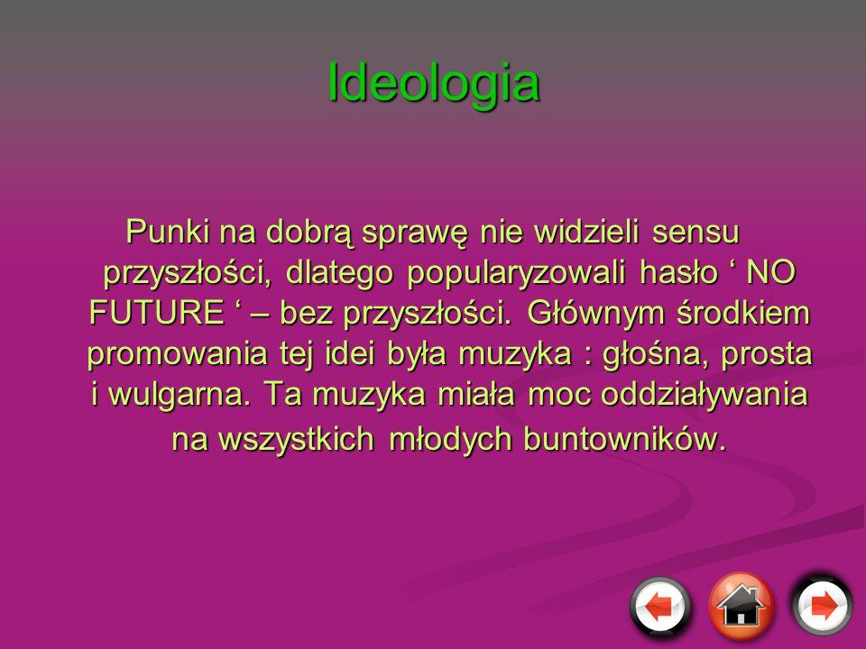 Ideologia Punki na dobrą sprawę nie widzieli sensu przyszłości, dlatego popularyzowali hasło NO FUTURE – bez przyszłości. Głównym środkiem promowania