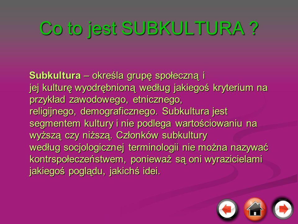 Co to jest SUBKULTURA ? Subkultura – określa grupę społeczną i jej kulturę wyodrębnioną według jakiegoś kryterium na przykład zawodowego, etnicznego,
