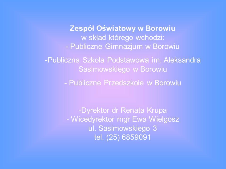 Zespół Oświatowy w Borowiu w skład którego wchodzi: - Publiczne Gimnazjum w Borowiu -Publiczna Szkoła Podstawowa im.