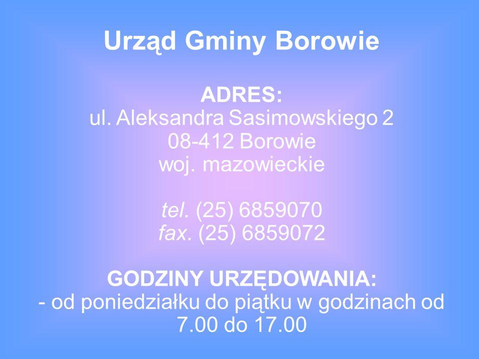ADRES: ul.Aleksandra Sasimowskiego 2 08-412 Borowie woj.