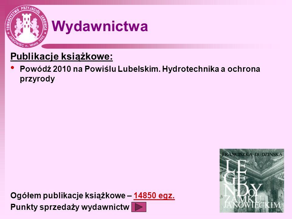 Wydawnictwa Publikacje książkowe: Powódź 2010 na Powiślu Lubelskim. Hydrotechnika a ochrona przyrody Ogółem publikacje książkowe – 14850 egz. Punkty s