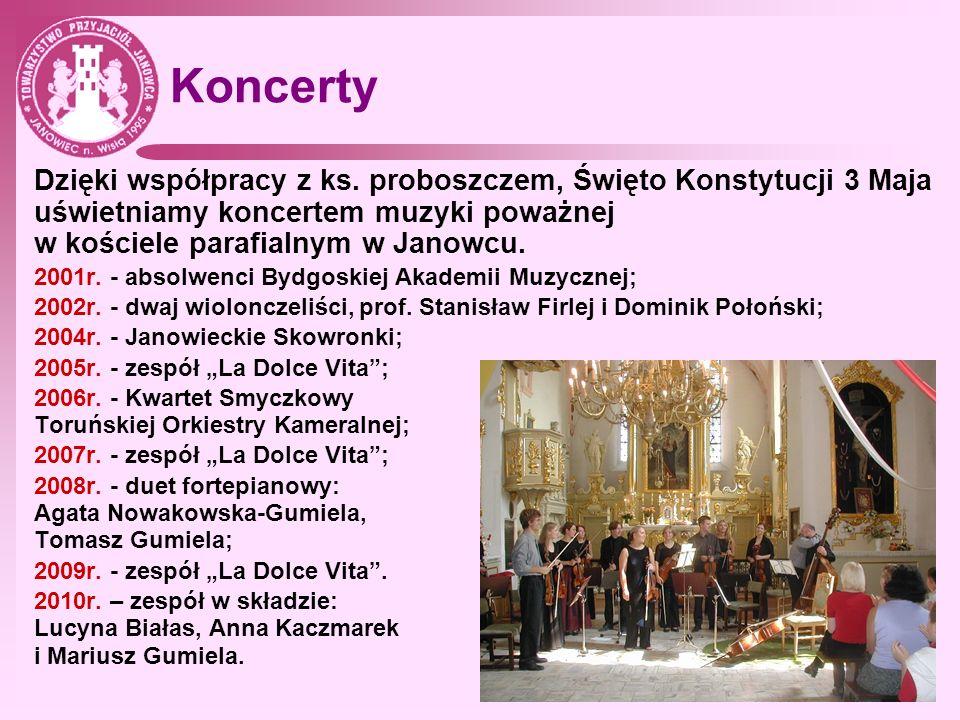 Koncerty Dzięki współpracy z ks. proboszczem, Święto Konstytucji 3 Maja uświetniamy koncertem muzyki poważnej w kościele parafialnym w Janowcu. 2001r.