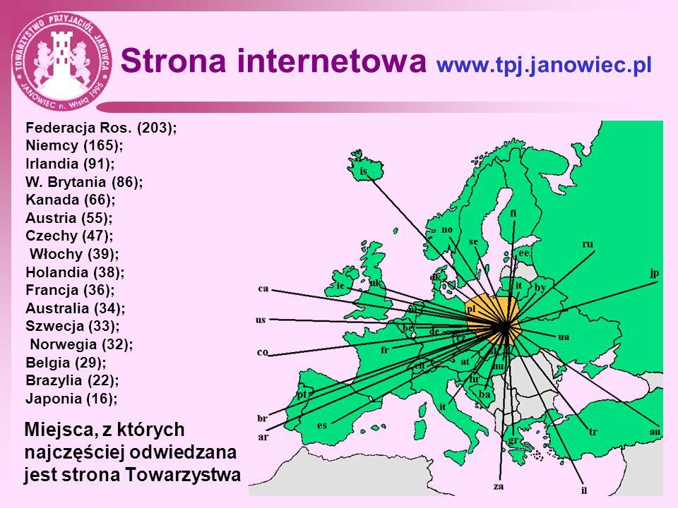 Strona internetowa www.tpj.janowiec.pl Miejsca, z których najczęściej odwiedzana jest strona Towarzystwa Federacja Ros. (203); Niemcy (165); Irlandia