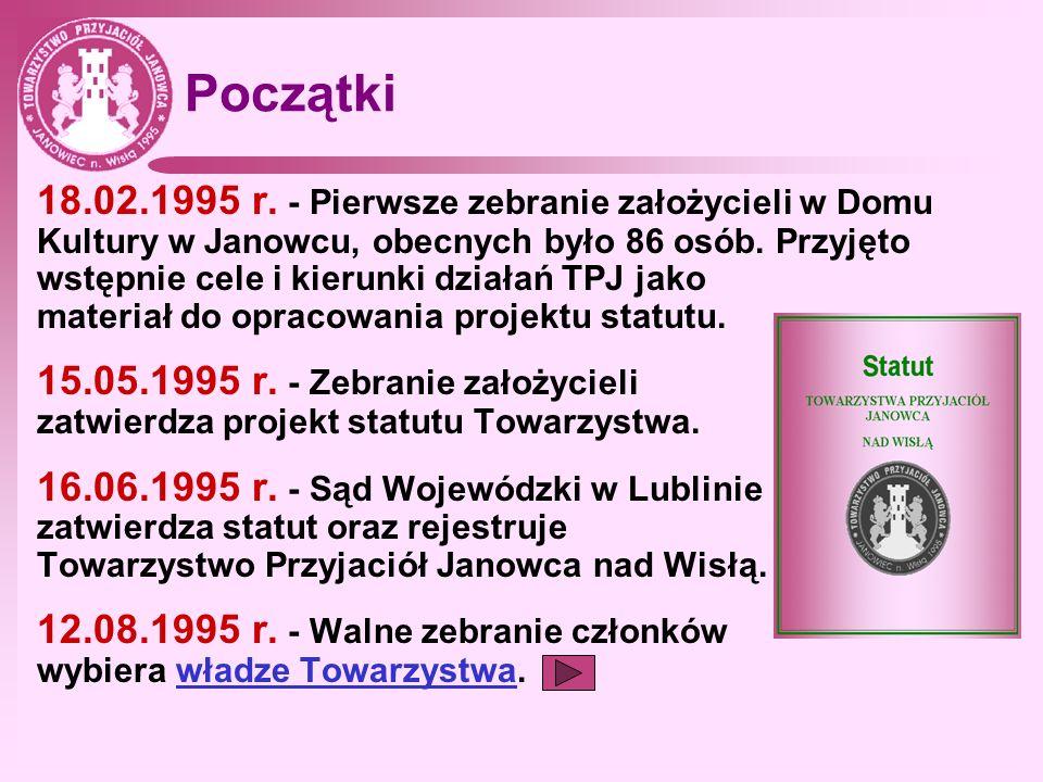 Początki 18.02.1995 r. - Pierwsze zebranie założycieli w Domu Kultury w Janowcu, obecnych było 86 osób. Przyjęto wstępnie cele i kierunki działań TPJ