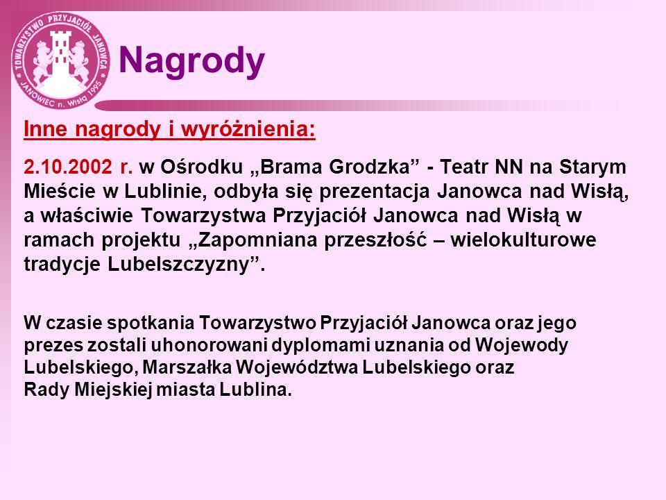 Nagrody Inne nagrody i wyróżnienia: 2.10.2002 r. w Ośrodku Brama Grodzka - Teatr NN na Starym Mieście w Lublinie, odbyła się prezentacja Janowca nad W