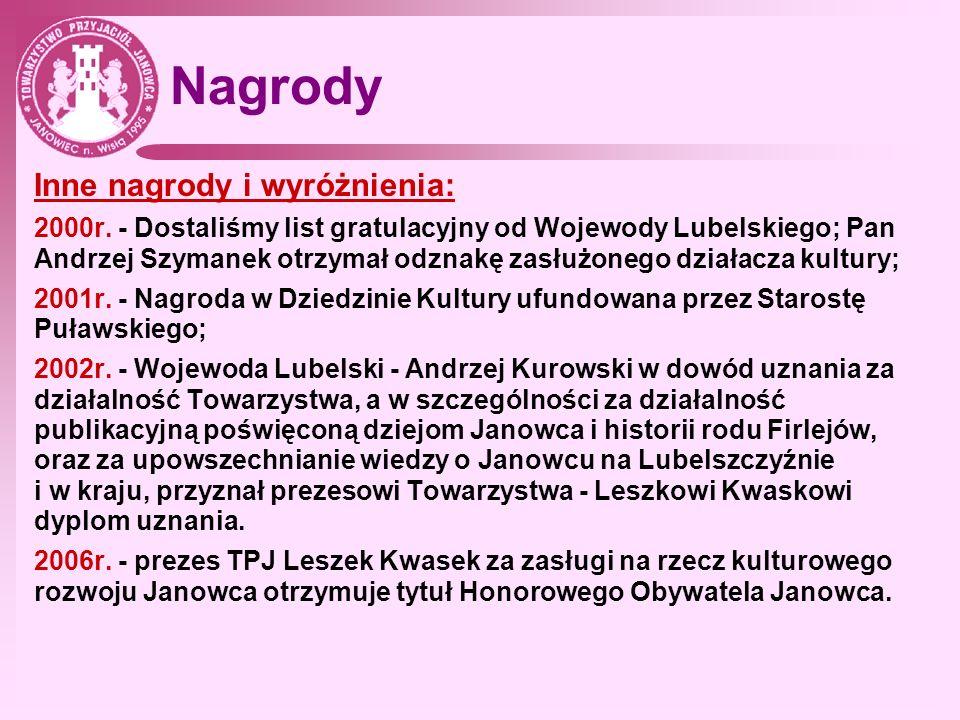Nagrody Inne nagrody i wyróżnienia: 2000r. - Dostaliśmy list gratulacyjny od Wojewody Lubelskiego; Pan Andrzej Szymanek otrzymał odznakę zasłużonego d