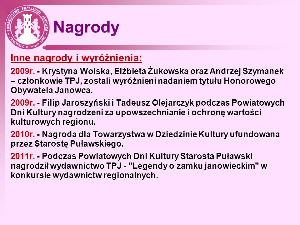 Nagrody Inne nagrody i wyróżnienia: 2009r. - Krystyna Wolska, Elżbieta Żukowska oraz Andrzej Szymanek – członkowie TPJ, zostali wyróżnieni nadaniem ty