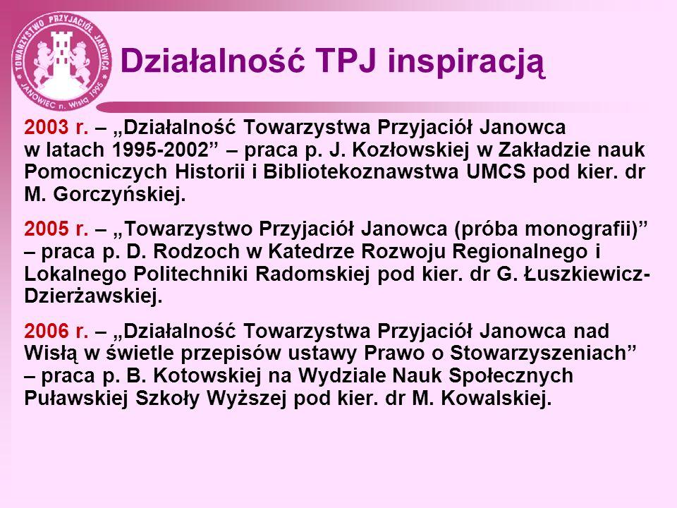 Działalność TPJ inspiracją 2003 r. – Działalność Towarzystwa Przyjaciół Janowca w latach 1995-2002 – praca p. J. Kozłowskiej w Zakładzie nauk Pomocnic