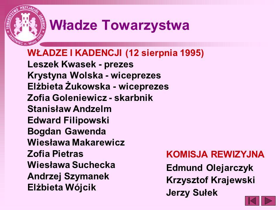 Władze Towarzystwa WŁADZE I KADENCJI (12 sierpnia 1995) Leszek Kwasek - prezes Krystyna Wolska - wiceprezes Elżbieta Żukowska - wiceprezes Zofia Golen