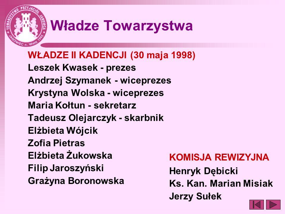 Władze Towarzystwa WŁADZE II KADENCJI (30 maja 1998) Leszek Kwasek - prezes Andrzej Szymanek - wiceprezes Krystyna Wolska - wiceprezes Maria Kołtun -