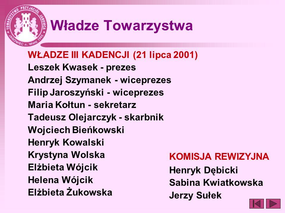 Władze Towarzystwa WŁADZE III KADENCJI (21 lipca 2001) Leszek Kwasek - prezes Andrzej Szymanek - wiceprezes Filip Jaroszyński - wiceprezes Maria Kołtu