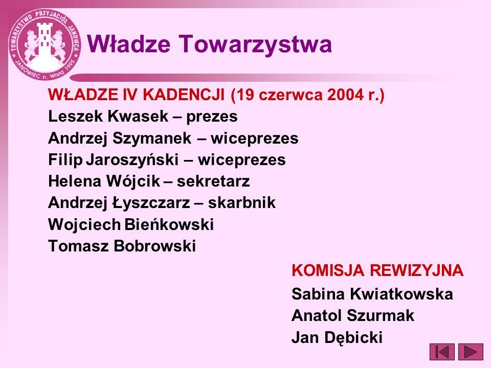 Władze Towarzystwa WŁADZE IV KADENCJI (19 czerwca 2004 r.) Leszek Kwasek – prezes Andrzej Szymanek – wiceprezes Filip Jaroszyński – wiceprezes Helena