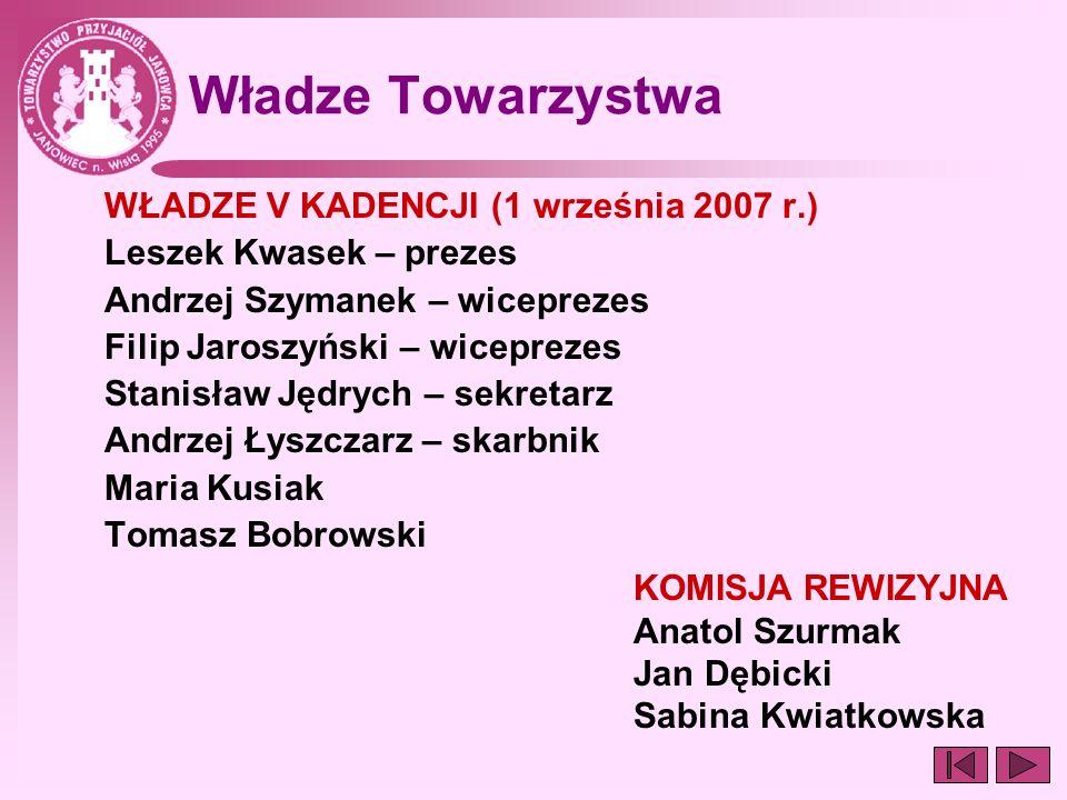 Władze Towarzystwa WŁADZE V KADENCJI (1 września 2007 r.) Leszek Kwasek – prezes Andrzej Szymanek – wiceprezes Filip Jaroszyński – wiceprezes Stanisła