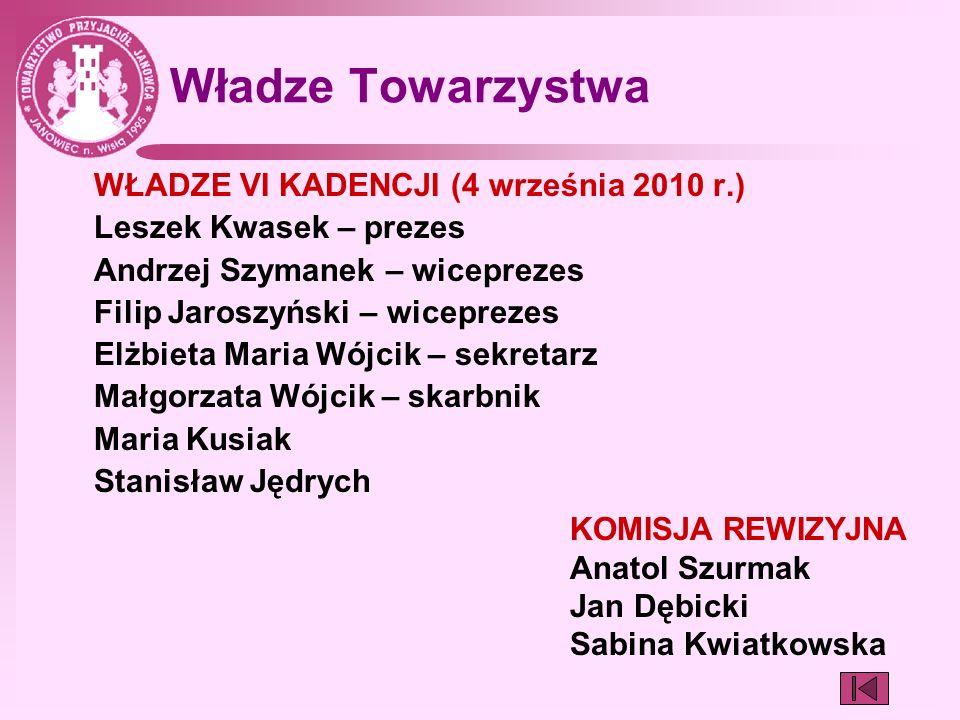 Władze Towarzystwa WŁADZE VI KADENCJI (4 września 2010 r.) Leszek Kwasek – prezes Andrzej Szymanek – wiceprezes Filip Jaroszyński – wiceprezes Elżbiet