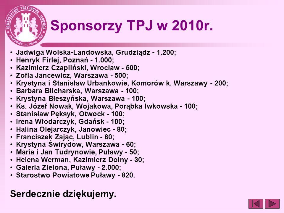 Sponsorzy TPJ w 2010r. Jadwiga Wolska-Landowska, Grudziądz - 1.200; Henryk Firlej, Poznań - 1.000; Kazimierz Czapliński, Wrocław - 500; Zofia Jancewic