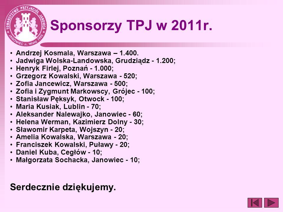 Sponsorzy TPJ w 2011r. Andrzej Kosmala, Warszawa – 1.400. Jadwiga Wolska-Landowska, Grudziądz - 1.200; Henryk Firlej, Poznań - 1.000; Grzegorz Kowalsk