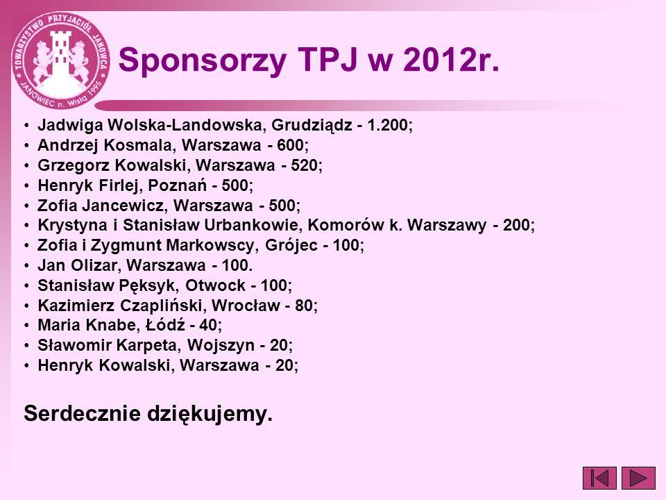 Sponsorzy TPJ w 2012r. Jadwiga Wolska-Landowska, Grudziądz - 1.200; Andrzej Kosmala, Warszawa - 600; Grzegorz Kowalski, Warszawa - 520; Henryk Firlej,