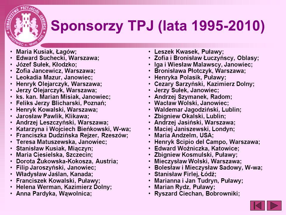 Sponsorzy TPJ (lata 1995-2010) Maria Kusiak, Łagów; Edward Suchecki, Warszawa; Józef Sułek, Kłodzko; Zofia Jancewicz, Warszawa; Leokadia Mazur, Janowi