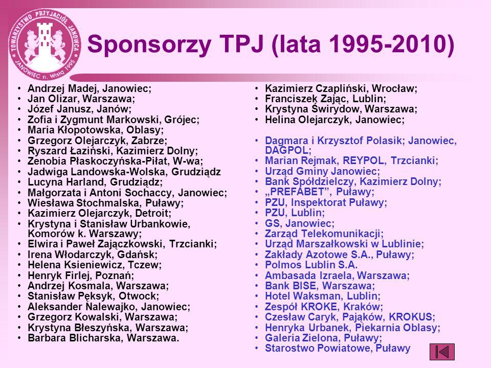 Sponsorzy TPJ (lata 1995-2010) Andrzej Madej, Janowiec; Jan Olizar, Warszawa; Józef Janusz, Janów; Zofia i Zygmunt Markowski, Grójec; Maria Kłopotowsk