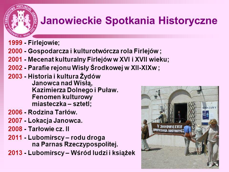 Sponsorzy TPJ (lata 1995-2010) Andrzej Madej, Janowiec; Jan Olizar, Warszawa; Józef Janusz, Janów; Zofia i Zygmunt Markowski, Grójec; Maria Kłopotowska, Oblasy; Grzegorz Olejarczyk, Zabrze; Ryszard Łaziński, Kazimierz Dolny; Zenobia Płaskoczyńska-Piłat, W-wa; Jadwiga Landowska-Wolska, Grudziądz Lucyna Harland, Grudziądz; Małgorzata i Antoni Sochaccy, Janowiec; Wiesława Stochmalska, Puławy; Kazimierz Olejarczyk, Detroit; Krystyna i Stanisław Urbankowie, Komorów k.