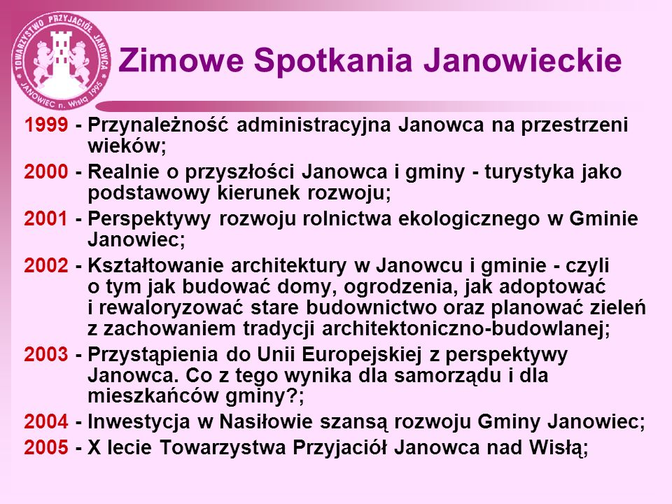 Zimowe Spotkania Janowieckie 2006 - O lepsze jutro Janowca; 2007 - Perspektywy kulturowego rozwoju Janowca; 2008 - Miejskie dzieje Janowca cz.