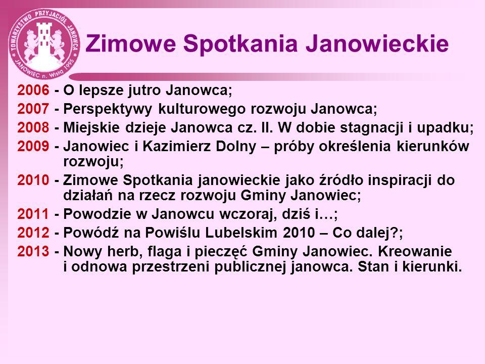 Zimowe Spotkania Janowieckie 2006 - O lepsze jutro Janowca; 2007 - Perspektywy kulturowego rozwoju Janowca; 2008 - Miejskie dzieje Janowca cz. II. W d