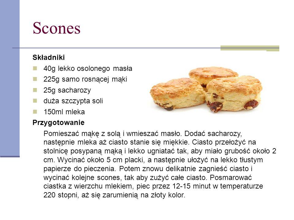 Scones Składniki 40g lekko osolonego masła 225g samo rosnącej mąki 25g sacharozy duża szczypta soli 150ml mleka Przygotowanie Pomieszać mąkę z solą i