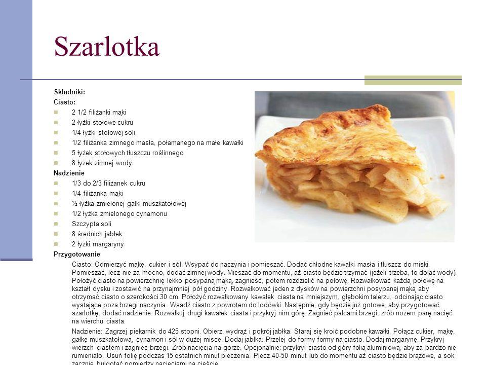 Szarlotka Składniki: Ciasto: 2 1/2 filiżanki mąki 2 łyżki stołowe cukru 1/4 łyżki stołowej soli 1/2 filiżanka zimnego masła, połamanego na małe kawałk