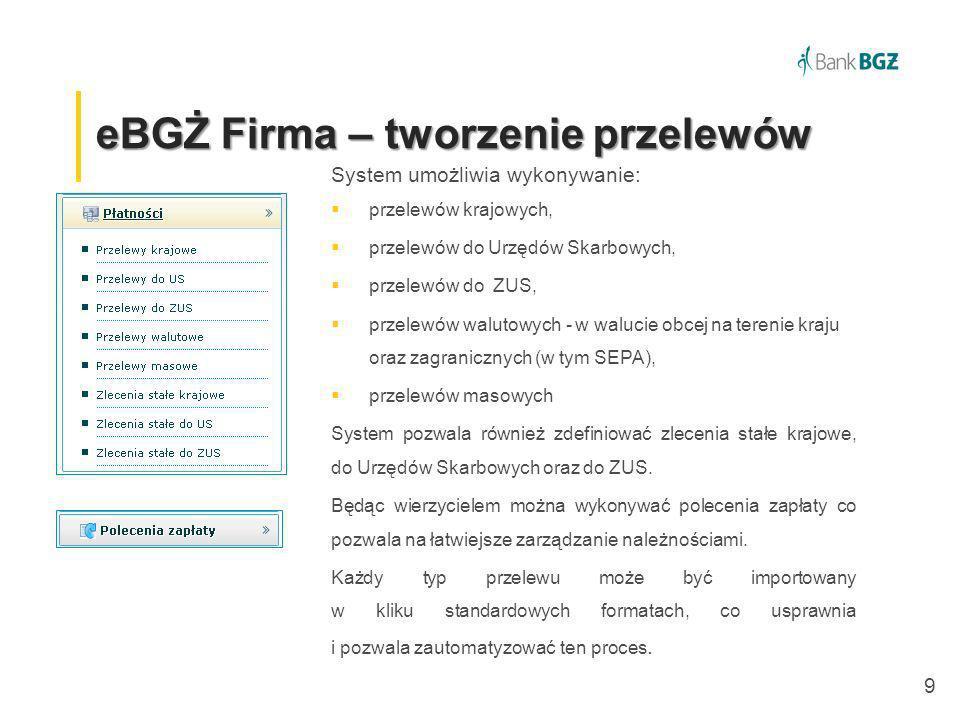 20 eBGŻ Firma –definiowanie alarmów eBGŻ Firma – definiowanie alarmów Użytkownicy systemu mogą definiować przypomnienia m.
