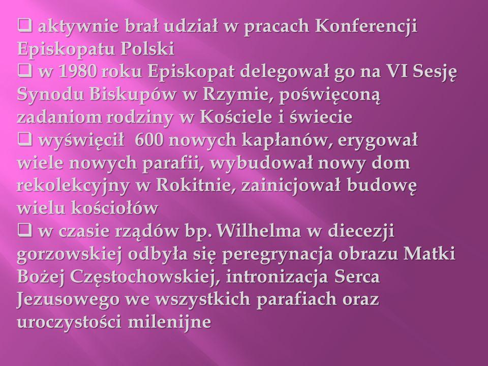 aktywnie brał udział w pracach Konferencji Episkopatu Polski aktywnie brał udział w pracach Konferencji Episkopatu Polski w 1980 roku Episkopat delego