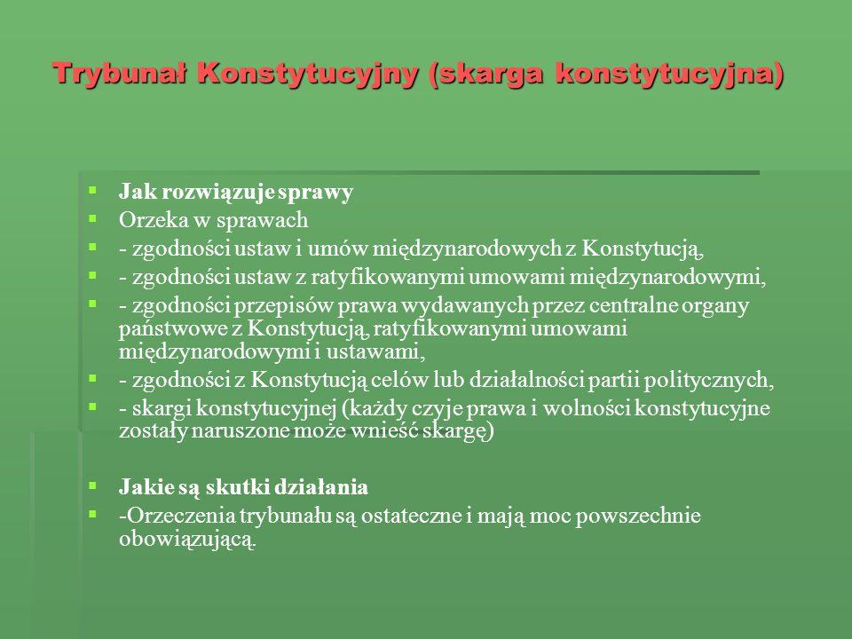 Trybunał Konstytucyjny (skarga konstytucyjna) Jak rozwiązuje sprawy Orzeka w sprawach - zgodności ustaw i umów międzynarodowych z Konstytucją, - zgodn