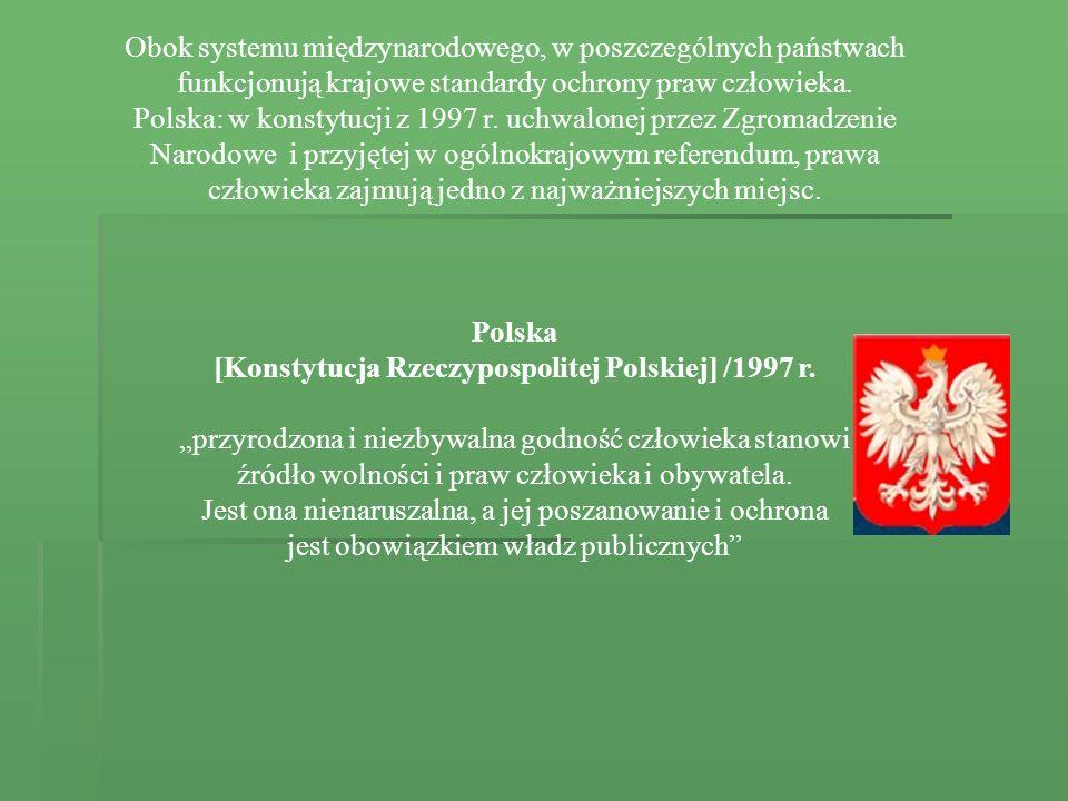 Obok systemu międzynarodowego, w poszczególnych państwach funkcjonują krajowe standardy ochrony praw człowieka. Polska: w konstytucji z 1997 r. uchwal